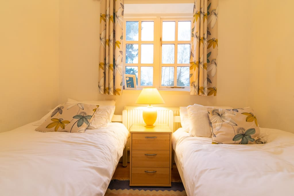 In the twin room the beds and mattresses are identical so can push together if required.