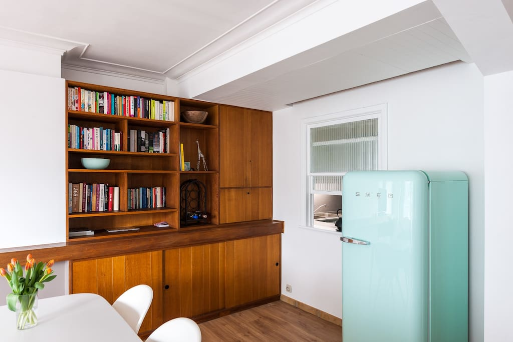 books, bar and fridge