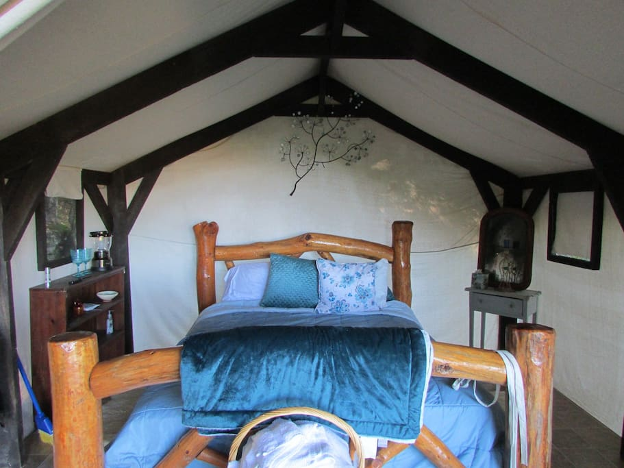 Glamping Tent..glamorous camping on 52 acres. Includes firepit, picnic table and hot farm fresh breakfast for two. $140/night. Two night minimum on weekends.