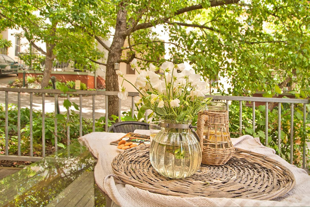 Enjoy sitting on the porch with a glass or two after exploring the town.