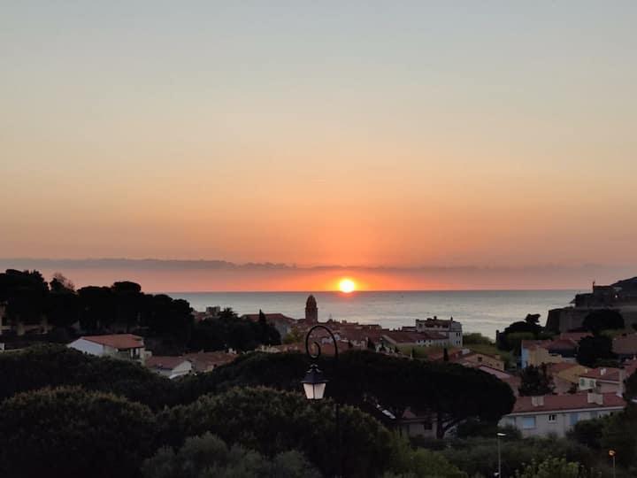 Collioure appart duplex vue mer terrasse et garage