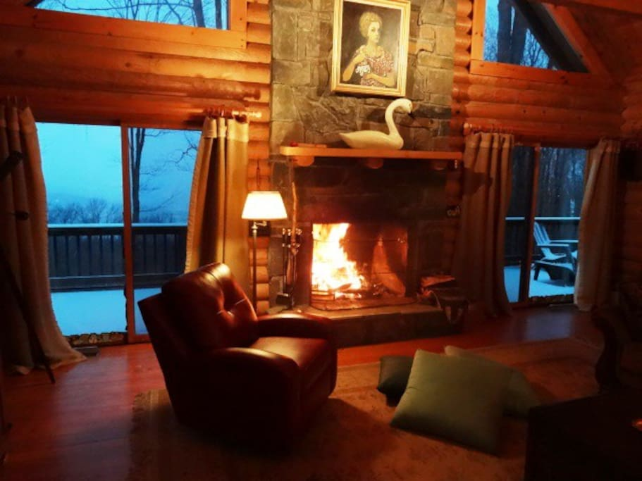 Cozy up in front of the big stone fireplace! Or watch a movie on TV!