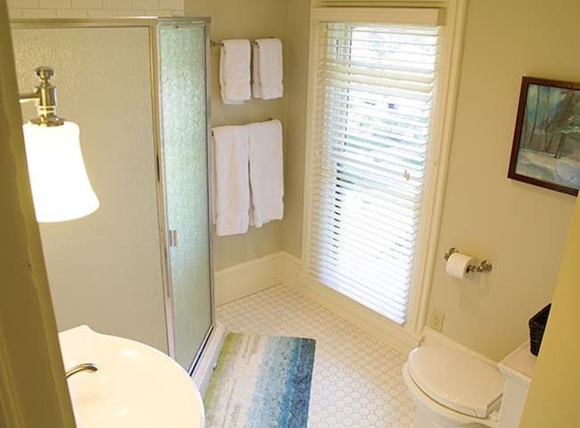 Private bathroom with walk in shower.