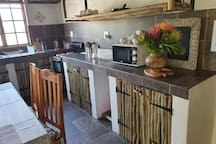 FULLY equipped kitchen Stove, oven, microwave and fridge/freezer combo