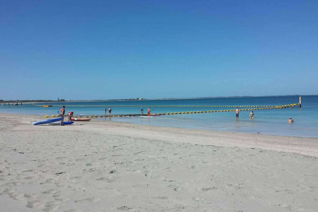 Swim safely in the large shark net. Snorkel over the shipwreck. Stroll along the jetty. Eat from a choice of 3 cafes .