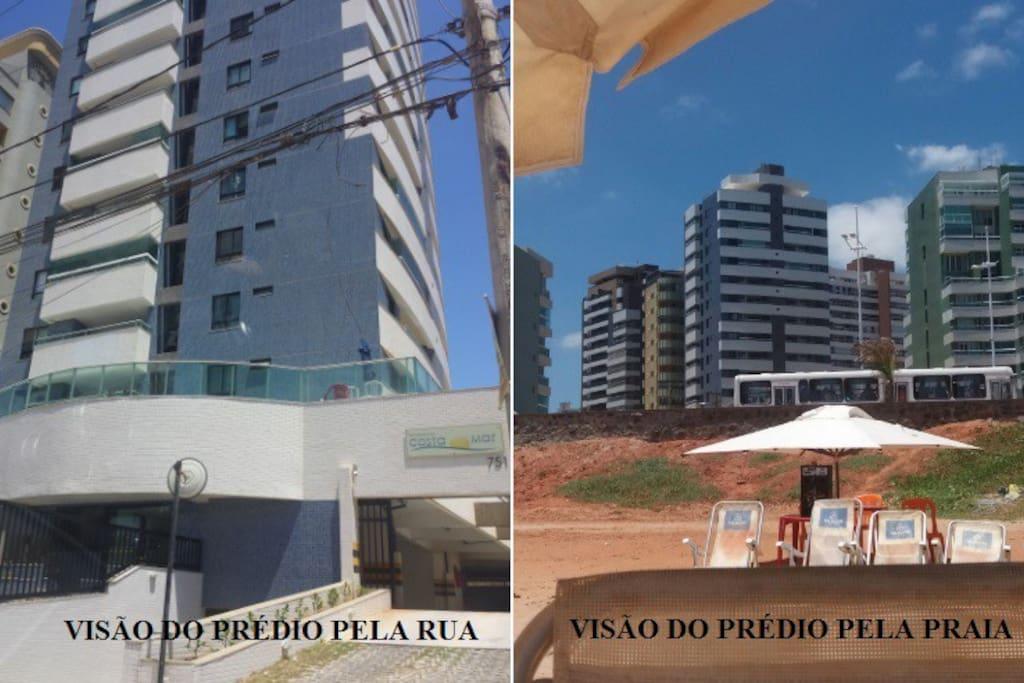 Vista do prédio pela rua e pela praia