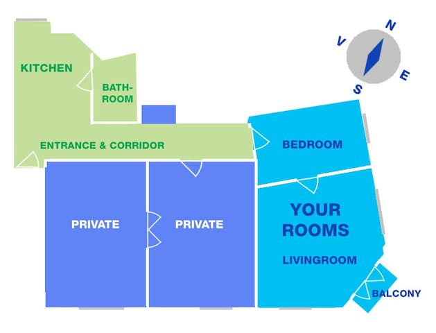 This is the layout of my apartment. The green areas are shared with me.