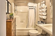 The shower/tub combo is perfect for bubble baths.