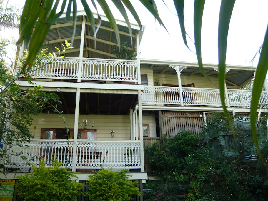 Back of house.  Guests access the bottom deck