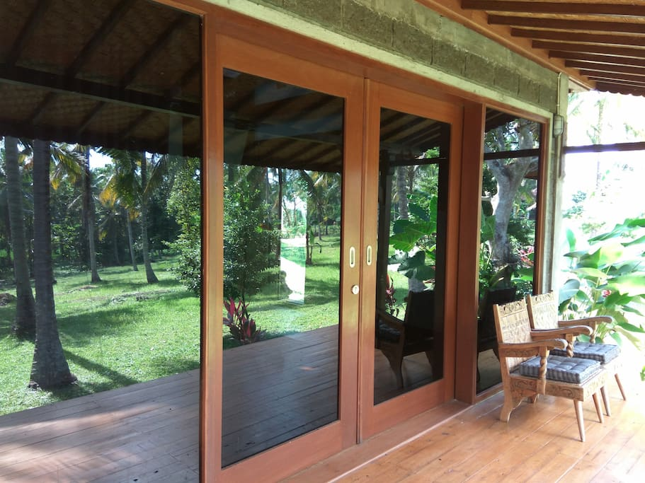 The place to chill and get the view of garden and ricefield