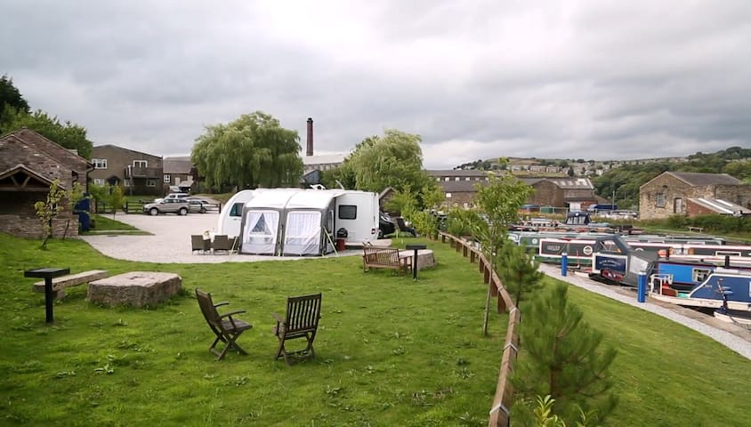 The Hay Barn located within pretty canal marina