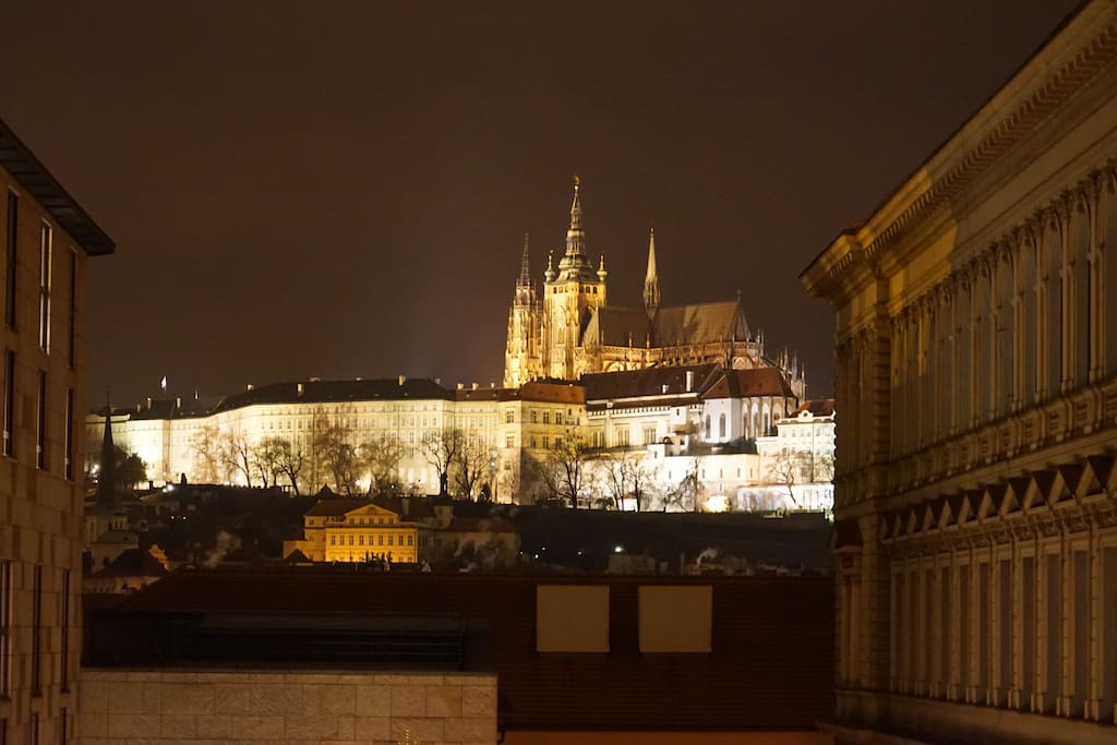 View of Prague castle by night