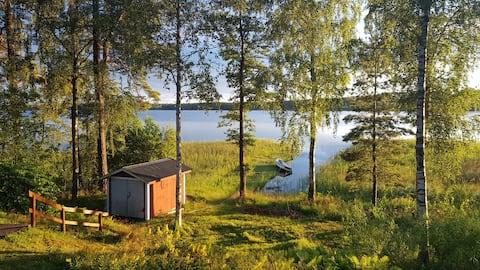 Acogedora casa de campo junto al lago Lagmanshaga, cerca de Isaberg