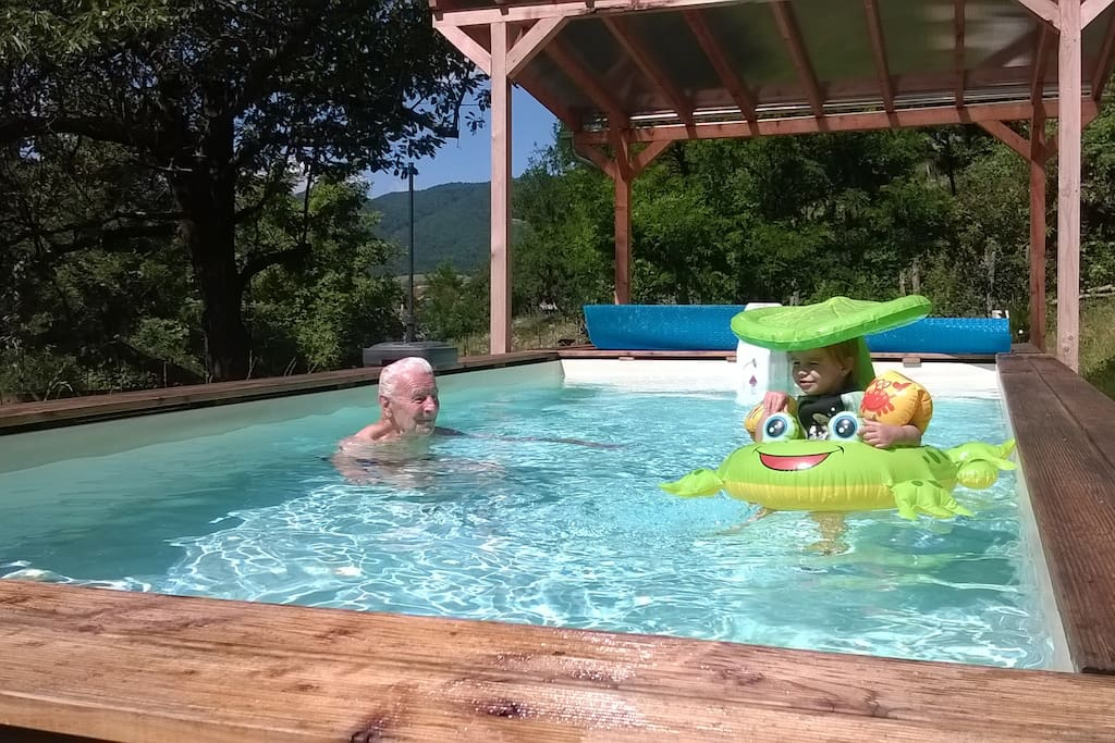 swimming pool with a view over Karancs mountain