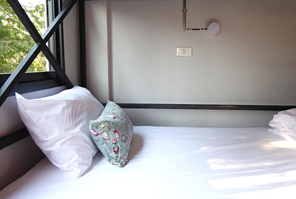 Each bed has an electrical outlet and reading light.
