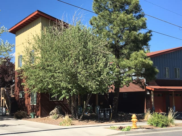 Our home is one of 6 newer homes in this small community. I purchased the property knowing we could create funky enclave of homes close to downtown Flagstaff.  Our neighborhood is very sought after.