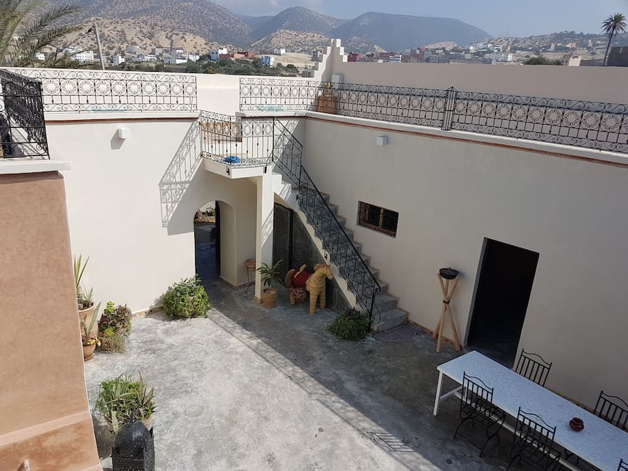 View onto the central courtyard from the terrace