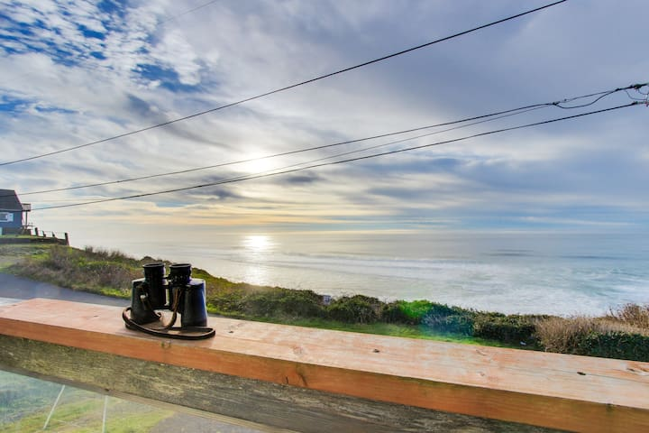 Dog-friendly home w/ deck and unobstructed ocean views - close to beach!