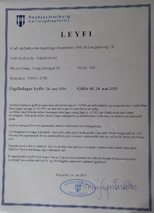 Permission from the City of Reykjavik to operate accommodation May 24, 2016 to May 24, 2018