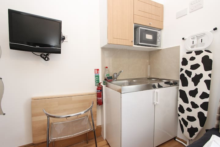 Kitchenette and fold down desk
