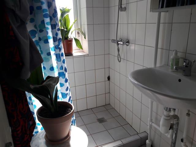 Vores badeværelse med en stor bruseniche.