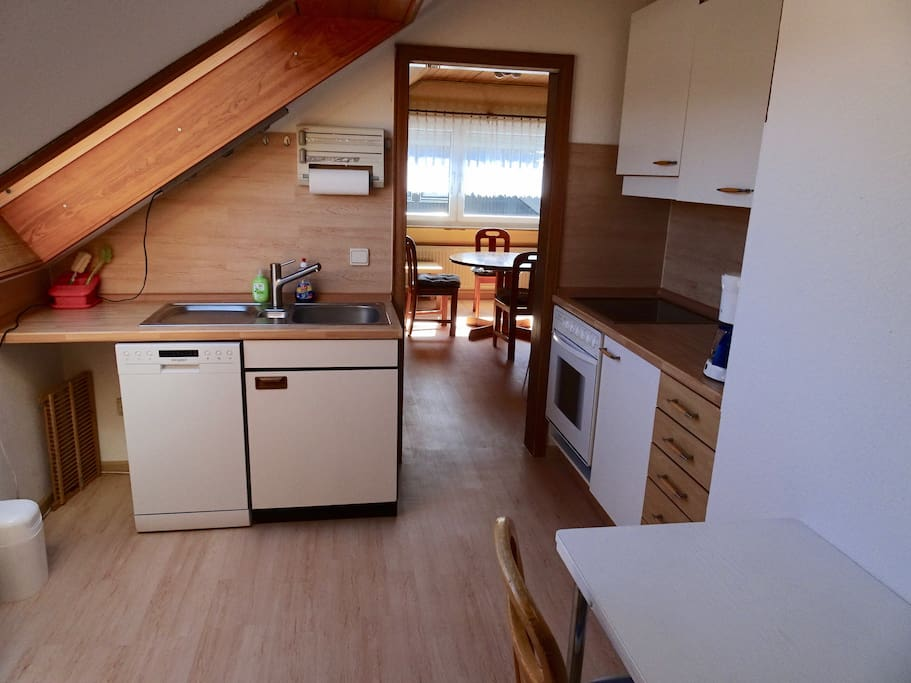 Küche, Blick auf das Wohnzimmer