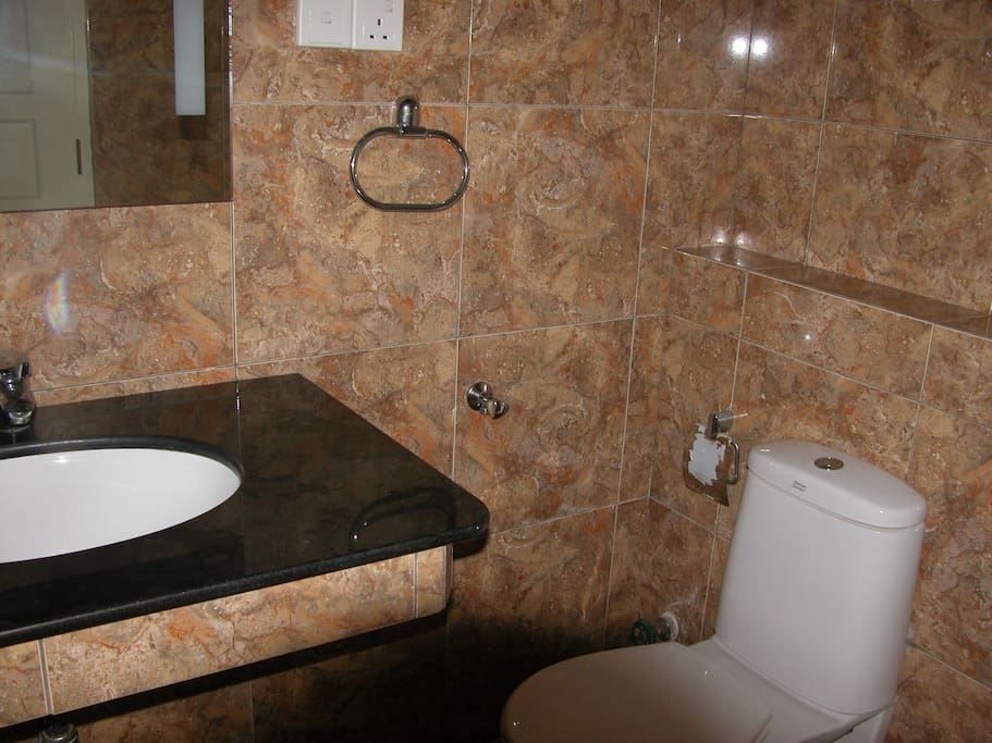 fully tiled shower room  with sink laid into black marble pedestal