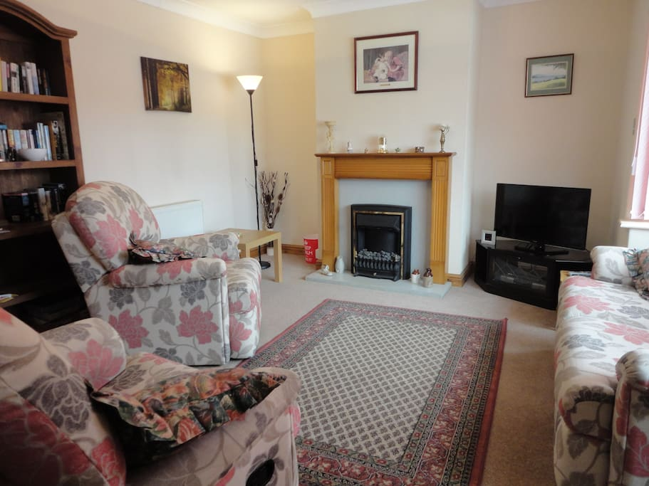 lounge with tv, books, dvd player,
