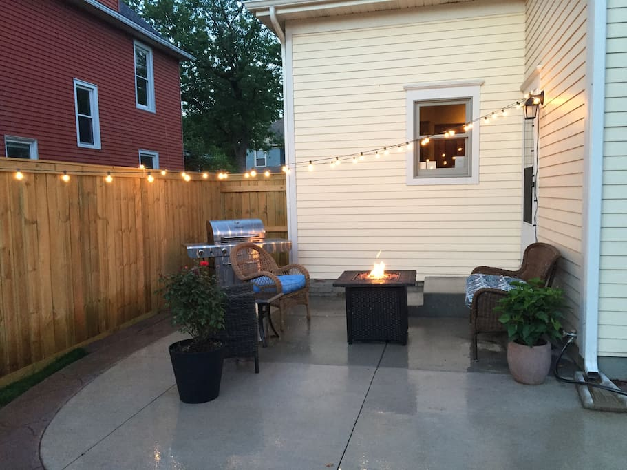 Patio with propane fire pit and grill