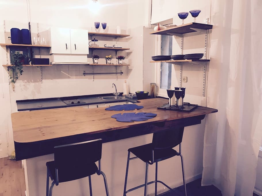 Kitchen and working space