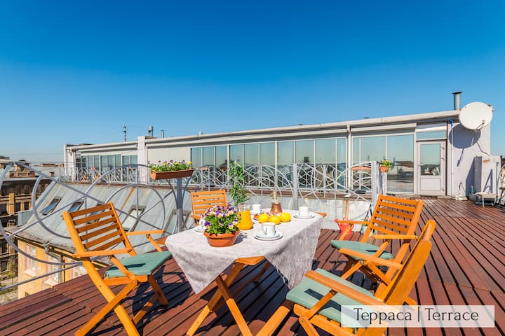 Panoramic LOFT+Terrace 5m to Nevskiy 200m2