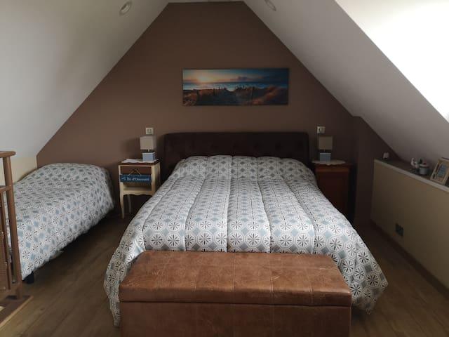 Chambre spacieuse tout confort composée d'un grand lit et d'un petit lit. TV, portant pour vos vêtements, fauteuil