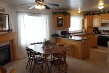 Nice open kitchen and dining area.
