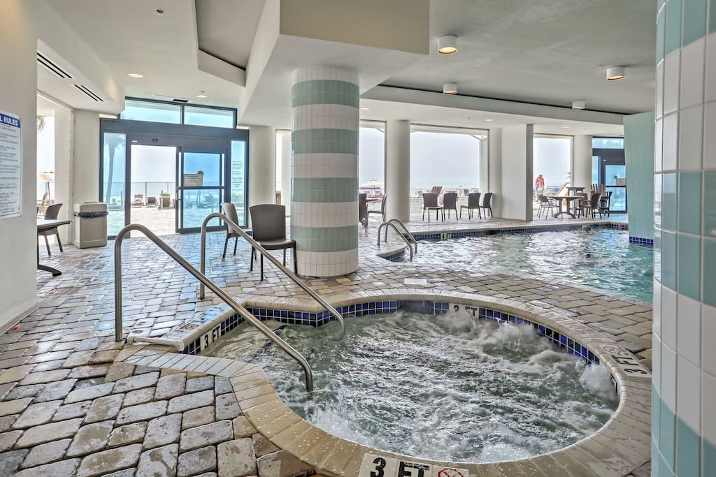 You'll love the oceanfront swimming pool, hot tub, lazy river, splash and play area for kids, fitness center and an indoor pool and hot tub.