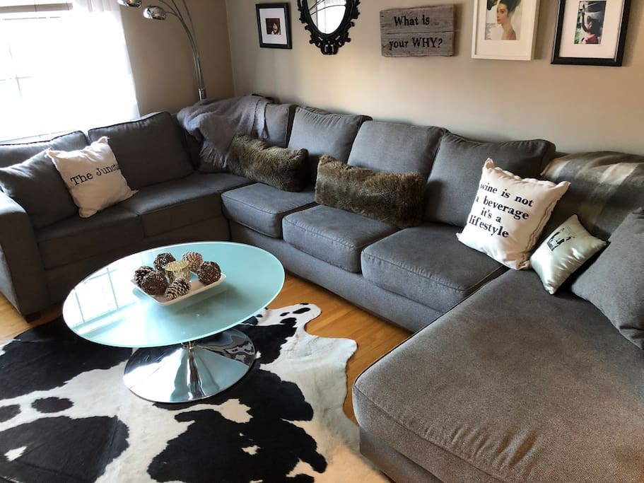 Wide pull out sectional