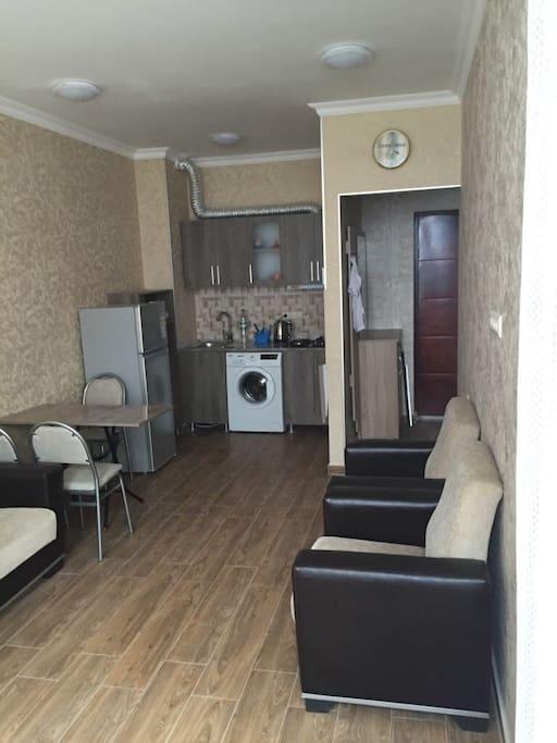 1 комната Студия кухня