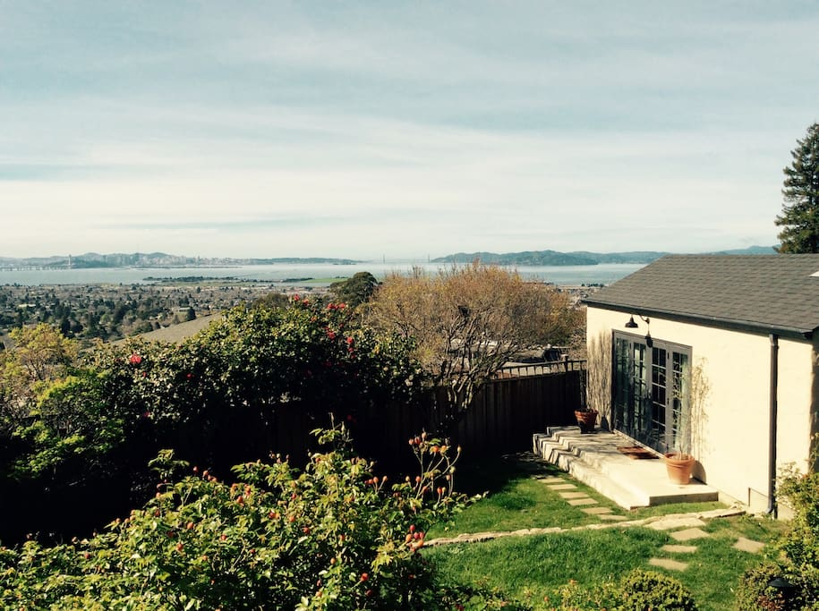 Bungalow sits below the main house and offers stunning views of San Francisco, the Golden Gate and Marin.