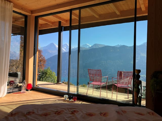 mountain and lake-view from the bed