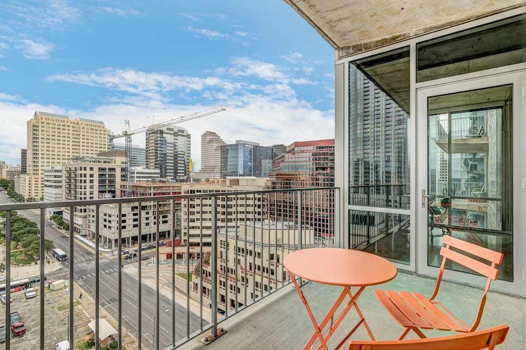 Enjoy a cup of coffee on the balcony and take in the Austin skyline.
