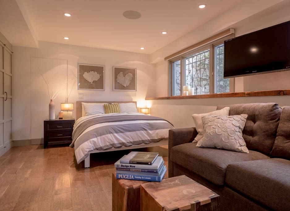 The large suite includes a sofa bed and sitting area