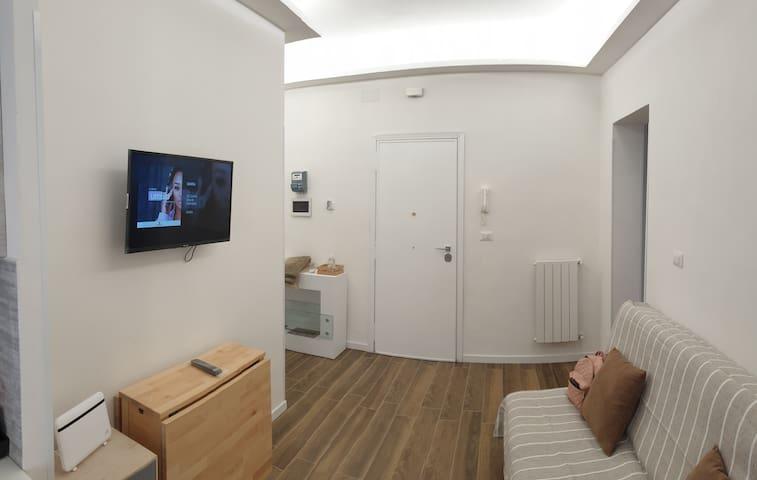 Zona soggiorno con divano letto a 2 piazze e smart tv