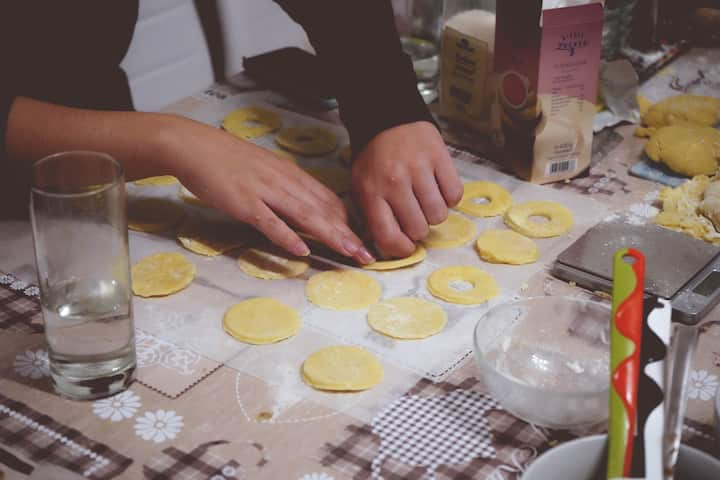 Stamping out dough for Linzer Augen