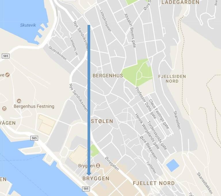 10 minutes walk to Bryggen