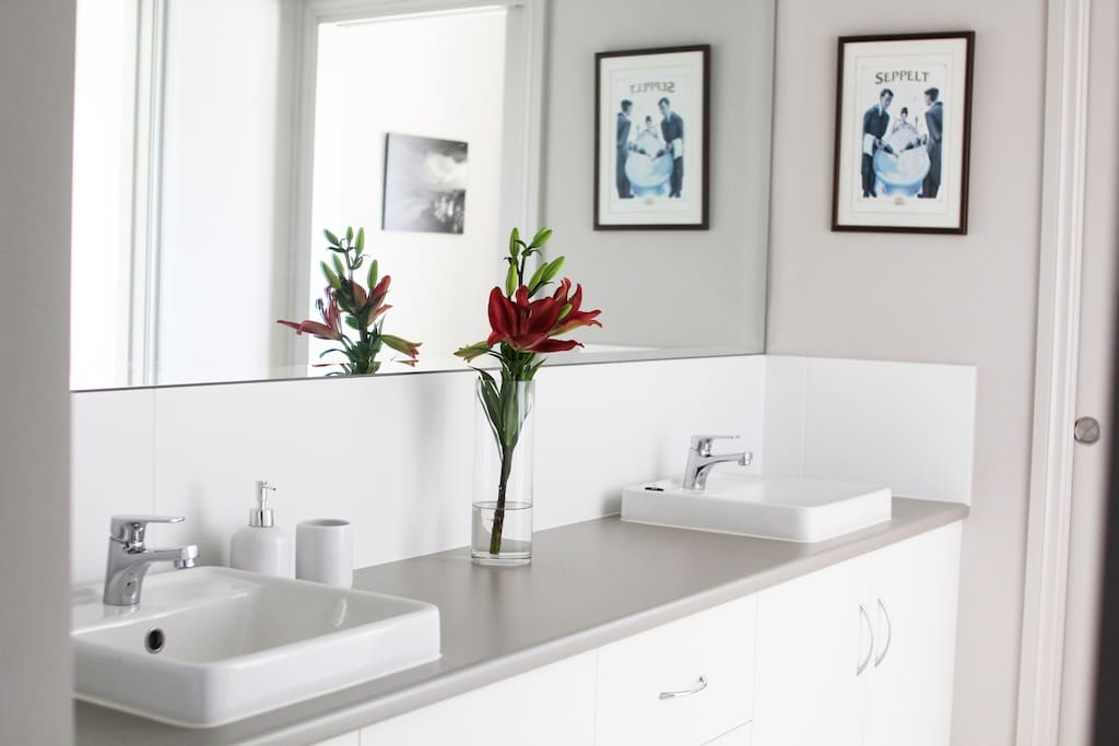 Double sinks in your private bathroom