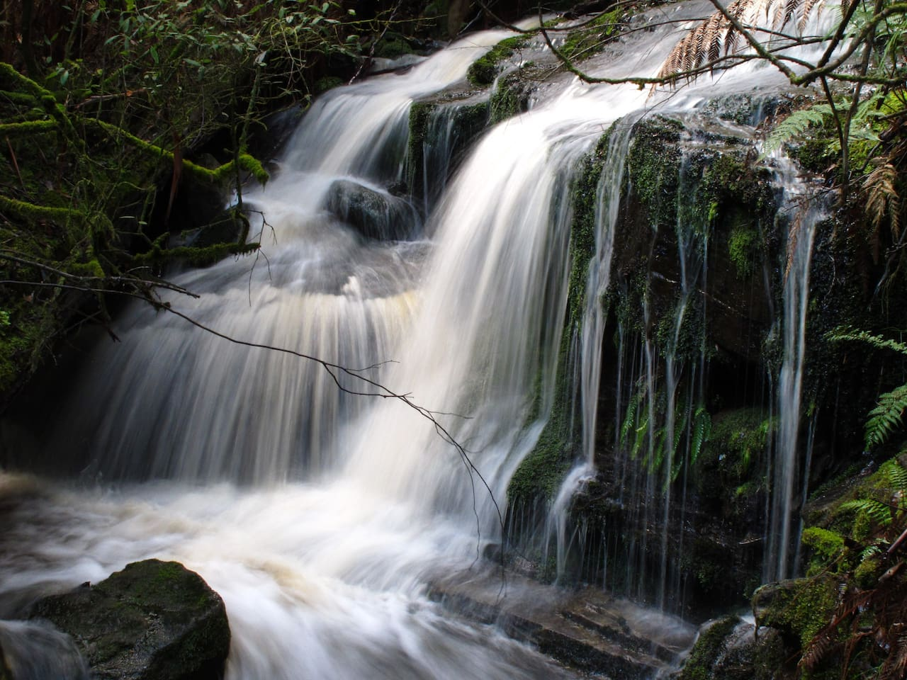 Private waterfalls are numerous and vary with rainfall and season from  trickle to a thunder.
