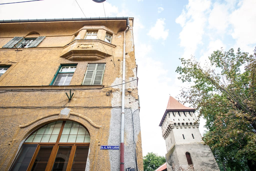 Caption of the building and the walls from Cetatii Street-most beautiful street in Sibiu