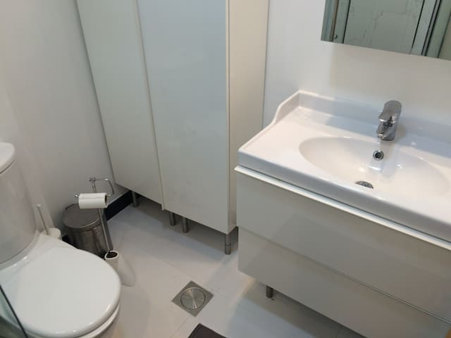 New all white bathroom