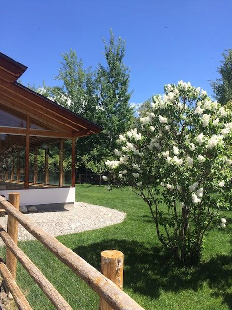Beautiful custom European home with fenced yard
