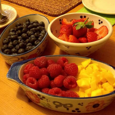 Delicious breakfast fruits.