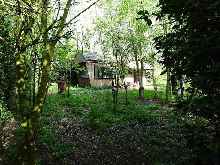 Prive gelegen huisje in bosrijke tuin